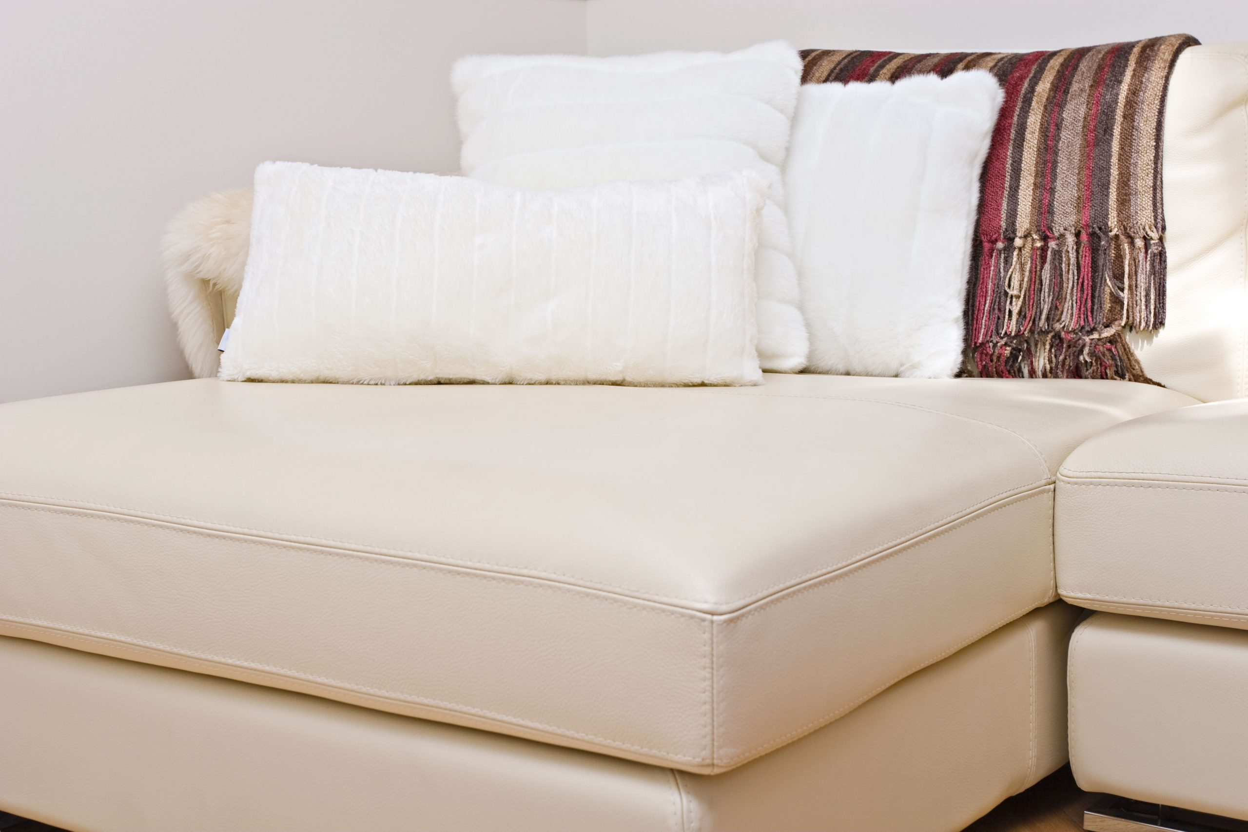 upholstery cleaning - couch with pillows