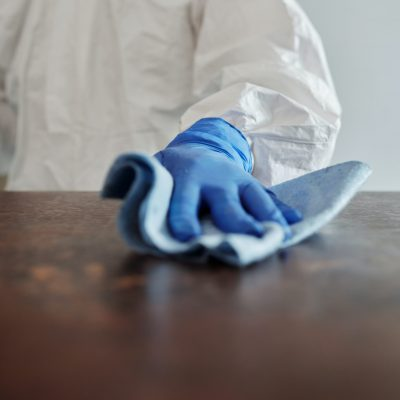 Pest Control Maroochydore - person using gloves wiping a surface