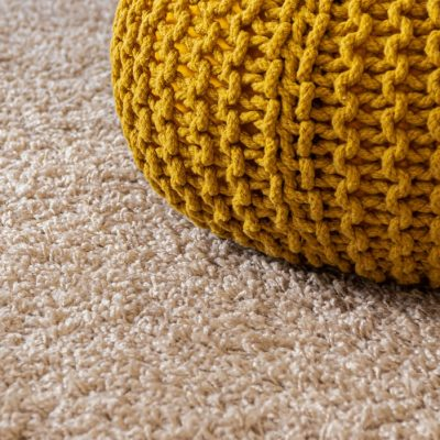 Carpet steam cleaning - yellow wool chair and carpet